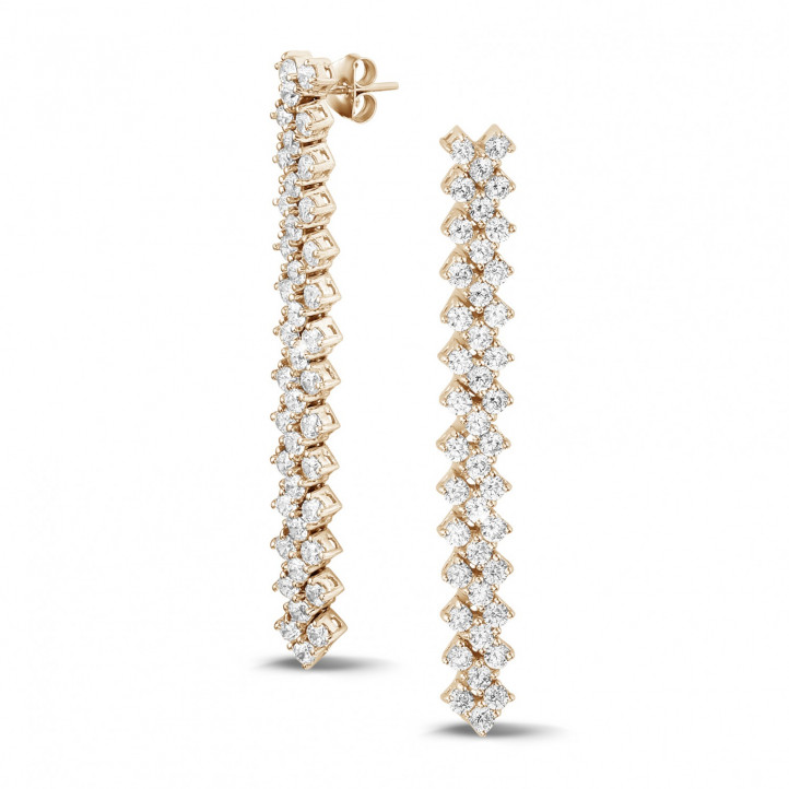 5.80 karaat diamanten oorbellen in rood goud met visgraat design