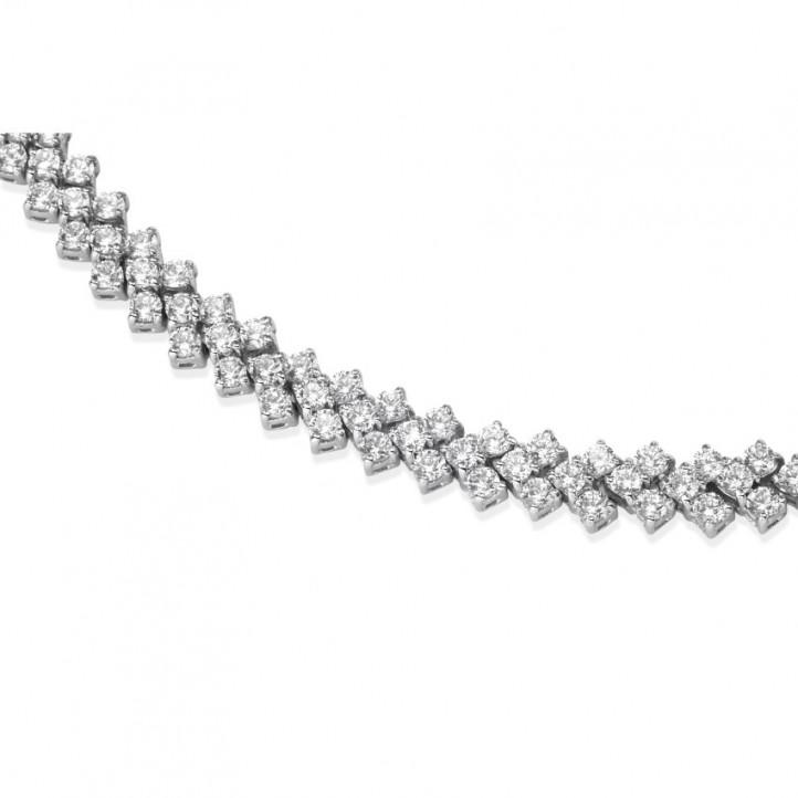 19.50 karaat diamanten halsketting in wit goud met visgraat design