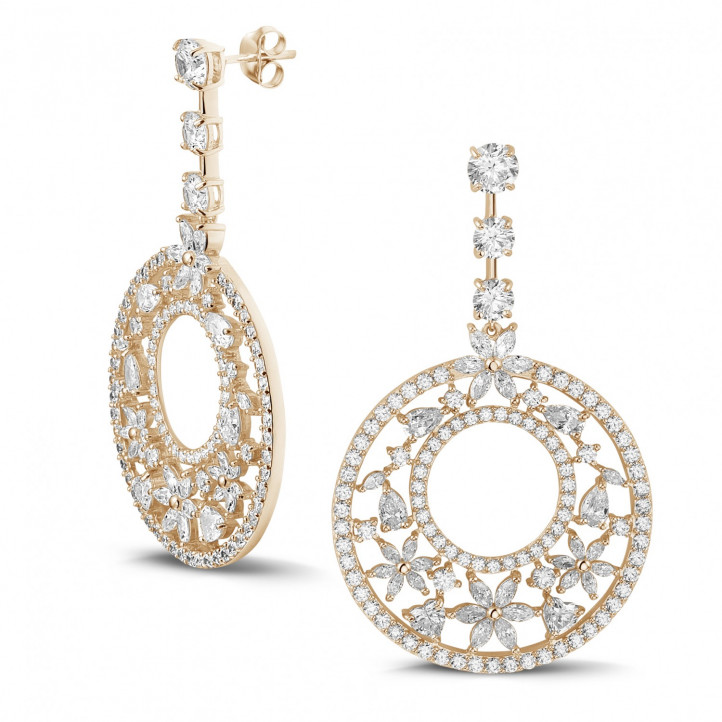 12.00 karaat oorbellen in rood goud met ronde, marquise, peer- en hartvormige diamanten