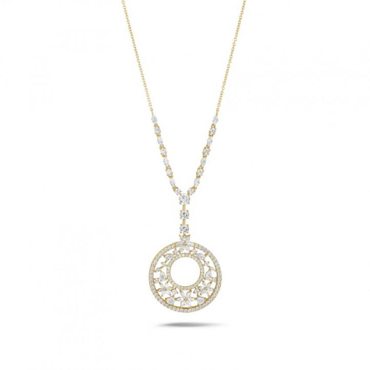 8.00 karaat halsketting in geel goud met ronde, marquise, peer- en hartvormige diamanten