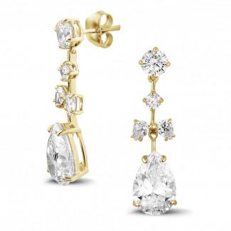 Geelgouden Diamanten Oorbellen - 7.00 karaat oorbellen in geel goud met ronde en peervormige diamanten