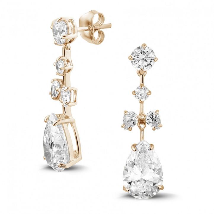 7.80 karaat oorbellen in rood goud met ronde en peervormige diamanten