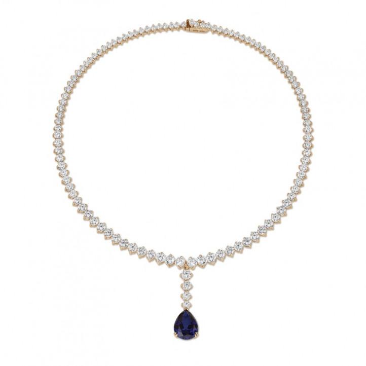 21.30 karaat diamanten dégradé halsketting in rood goud met peervormige saffier