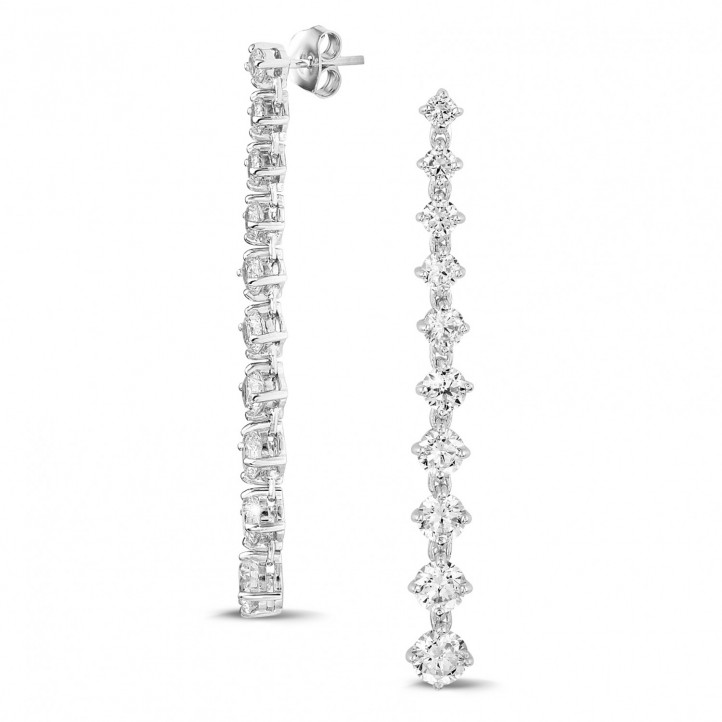 5.50 karaat diamanten dégradé oorbellen in wit goud