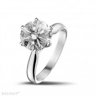 - 3.00 karaat solitaire ring in wit goud met ronde diamant van uitzonderlijke kwaliteit (D-IF-EX)
