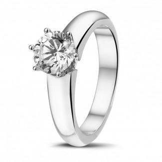 Witgouden Diamanten Ringen - 1.00 karaat solitaire ring in wit goud met zes griffen en ronde diamant van uitzonderlijke kwaliteit (D-IF-EX)