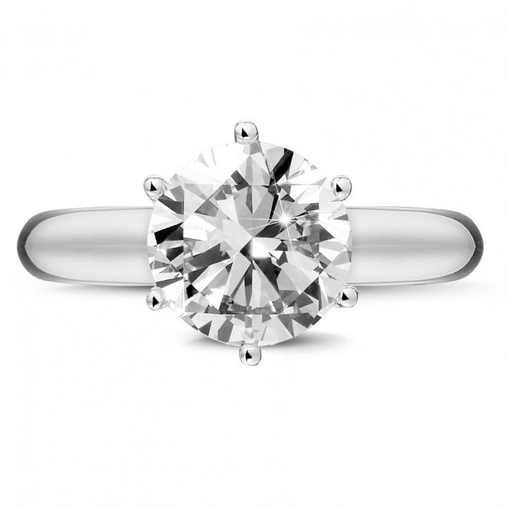 3.00 karaat solitaire ring in wit goud met zes griffen en ronde diamant van uitzonderlijke kwaliteit (D-IF-EX)