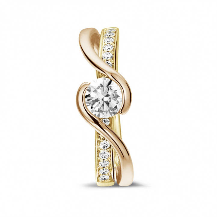 0.50 karaat diamanten solitaire ring in geel en rood goud