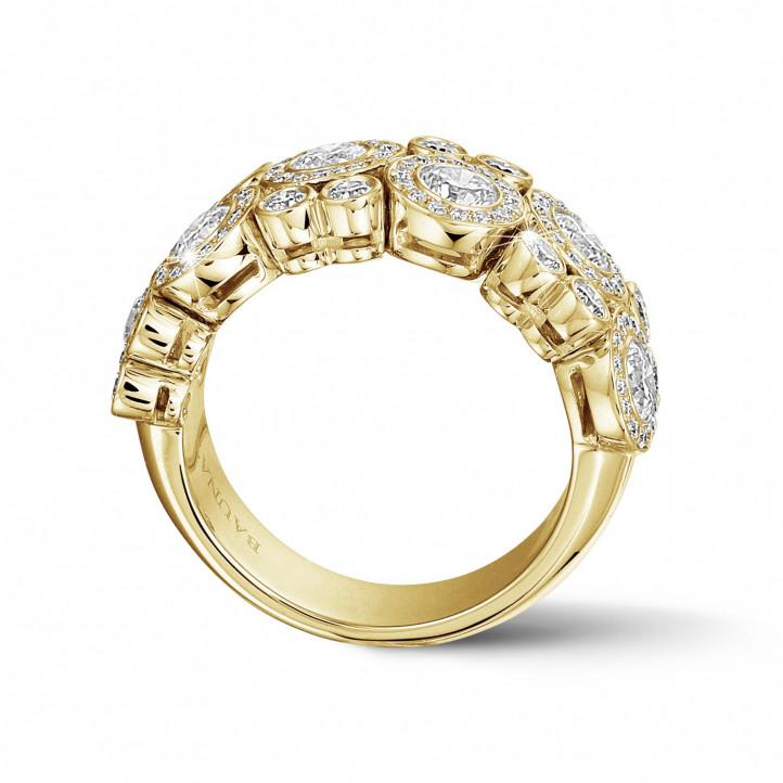 1.80 karaat diamanten ring in geel goud