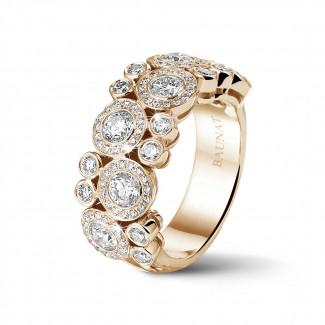 Ringen - 1.80 karaat diamanten ring in rood goud