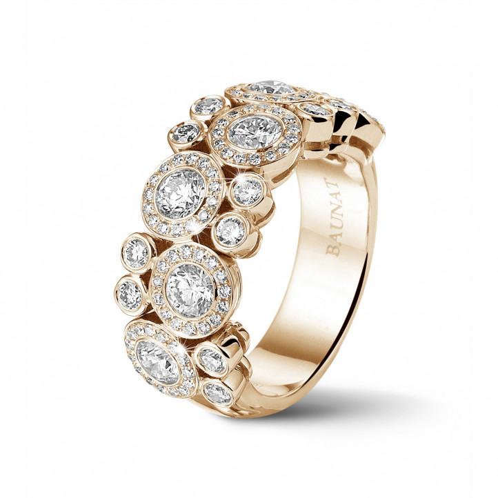 1.80 karaat diamanten ring in rood goud