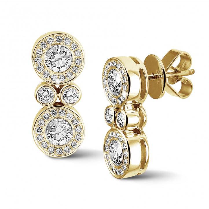 1.00 karaat diamanten oorbellen in geel goud