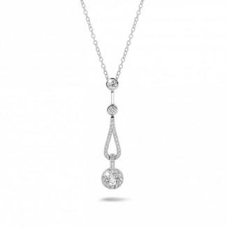 Halskettingen - 0.50 karaat diamanten halsketting in wit goud