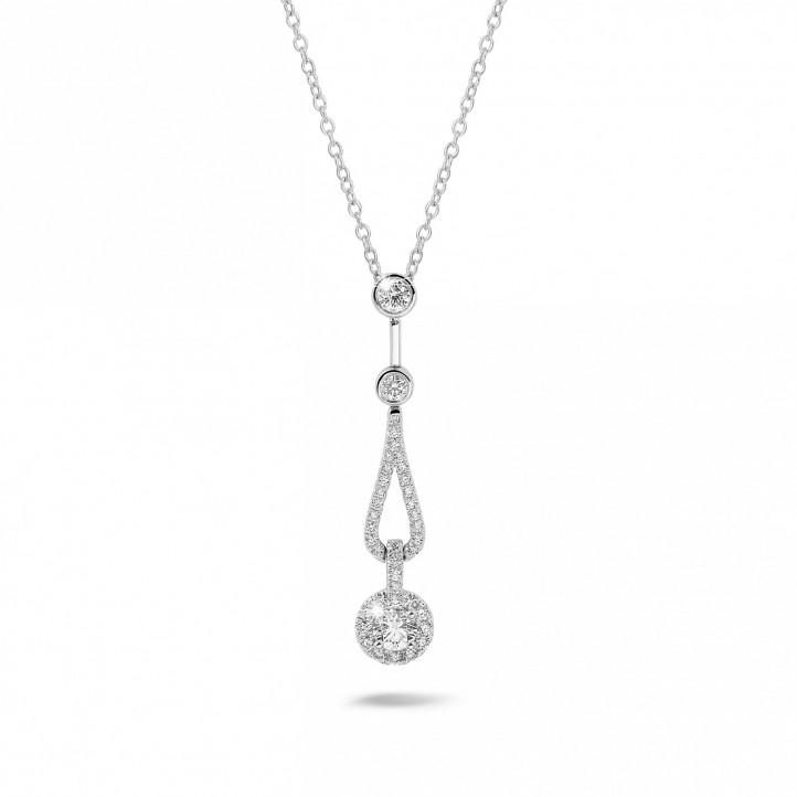 0.50 karaat diamanten halsketting in wit goud