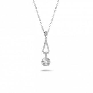Halskettingen - 0.45 karaat diamanten halsketting in wit goud