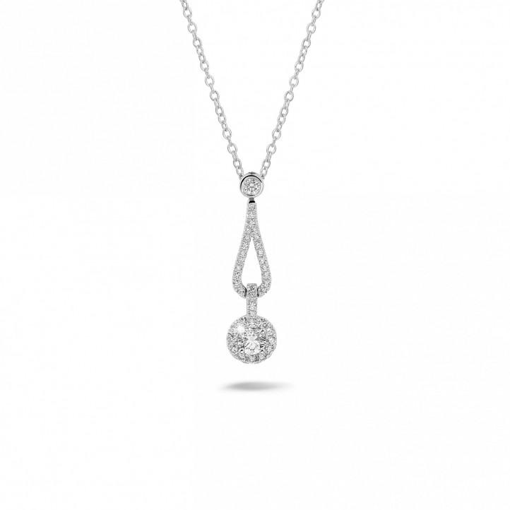 0.45 karaat diamanten halsketting in wit goud