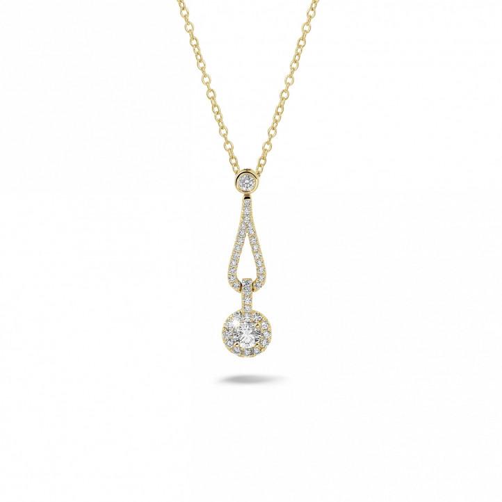 0.45 karaat diamanten halsketting in geel goud