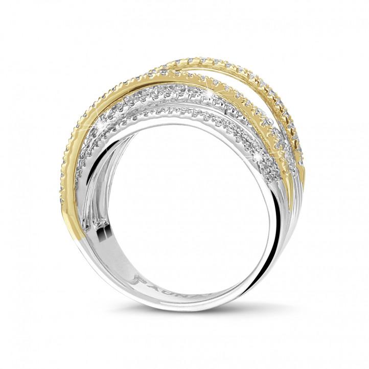 1.60 karaat ring in wit & geel goud met ronde diamanten