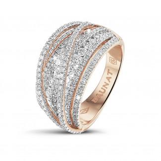 Ringen - 1.50 karaat ring in rood goud met ronde diamanten
