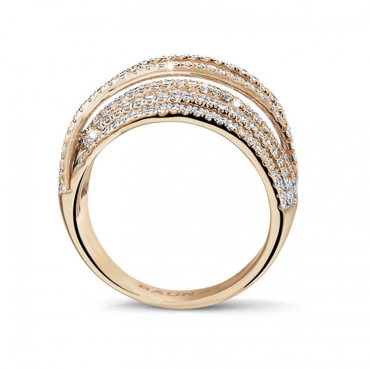 1.50 karaat ring in rood goud met ronde diamanten
