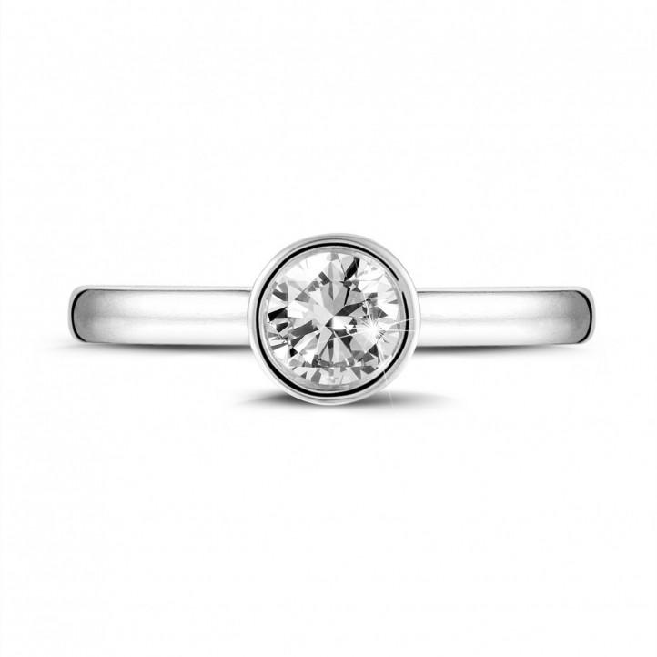 0.50 karaat solitaire ring in wit goud met ronde diamant
