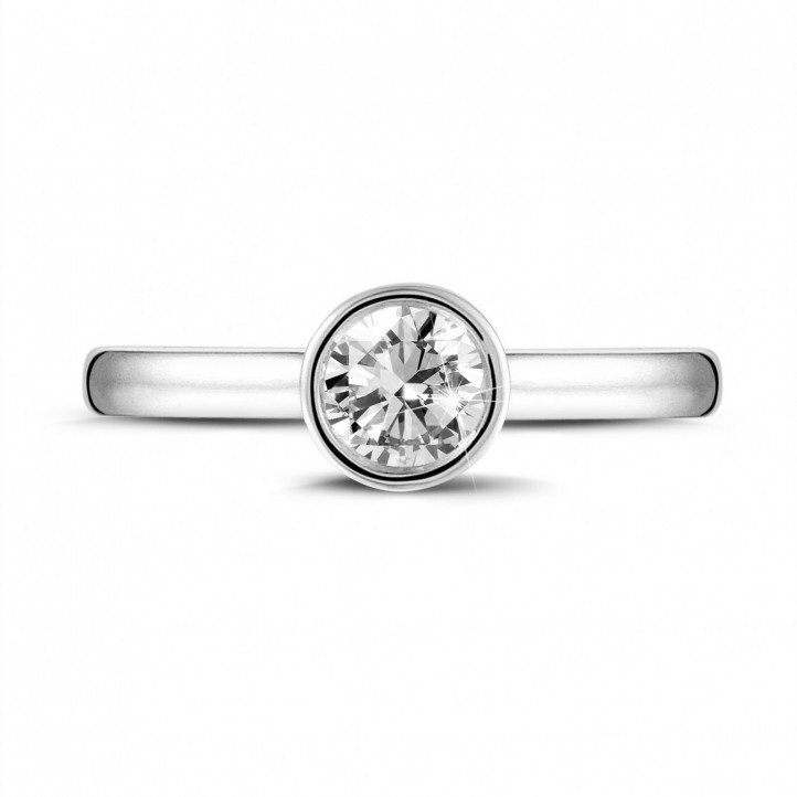 0.50 karaat solitaire ring in wit goud met ronde diamant