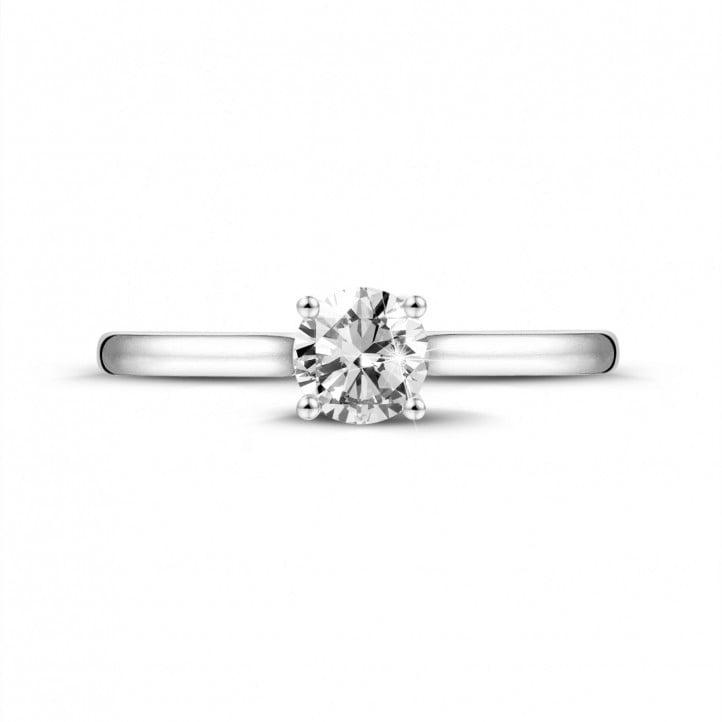 0.50 karaat solitaire ring in platina met ronde diamant en vier griffen