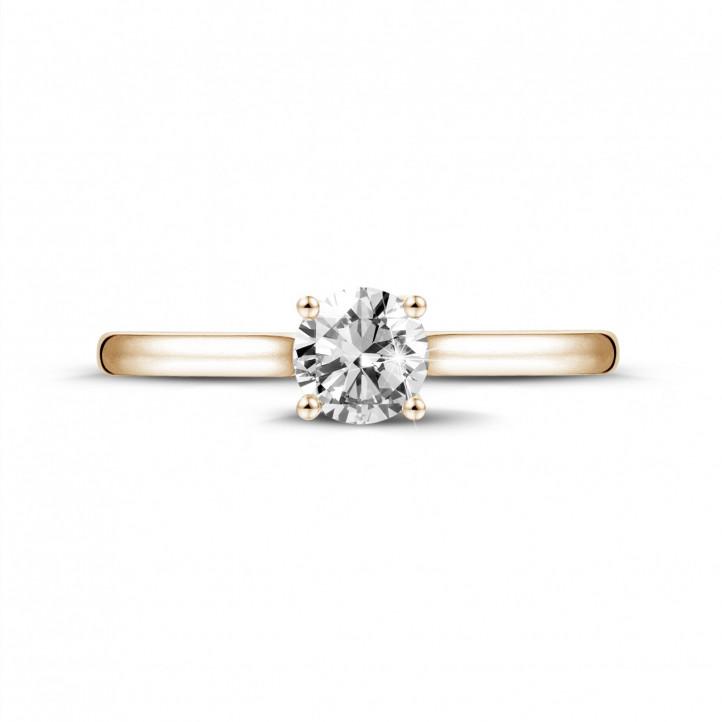 0.50 karaat solitaire ring in rood goud met ronde diamant en vier griffen