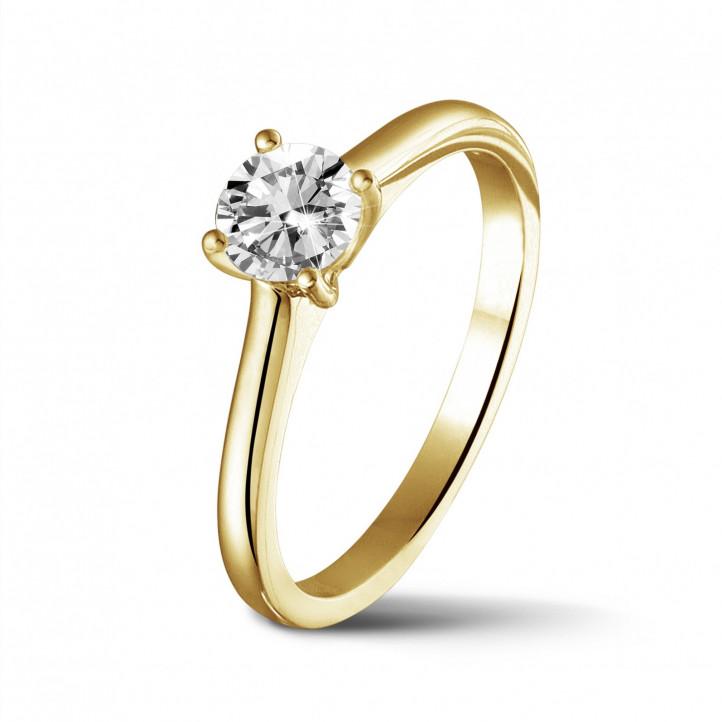 0.50 karaat solitaire ring in geel goud met ronde diamant en vier griffen