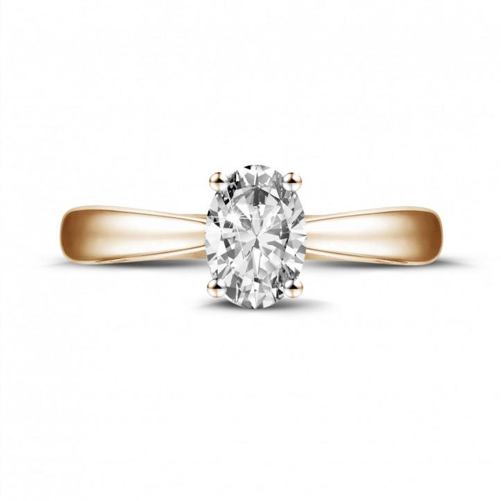 0.58 karaat solitaire ring in rood goud met ovale diamant