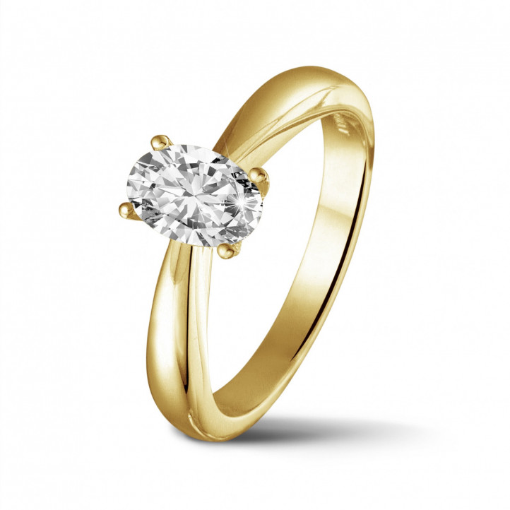 0.58 karaat solitaire ring in geel goud met ovale diamant