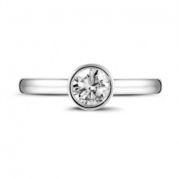 0.50 karaat solitaire ring in platina met ronde diamant
