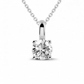 Halskettingen - 0.50 karaat solitaire hanger in wit goud met ronde diamant en vier griffen