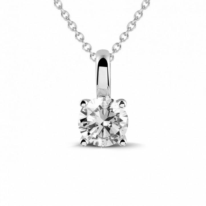 0.50 karaat solitaire hanger in wit goud met ronde diamant en vier griffen