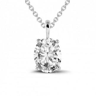 Halskettingen - 1.90 karaat solitaire hanger in wit goud met ovale diamant
