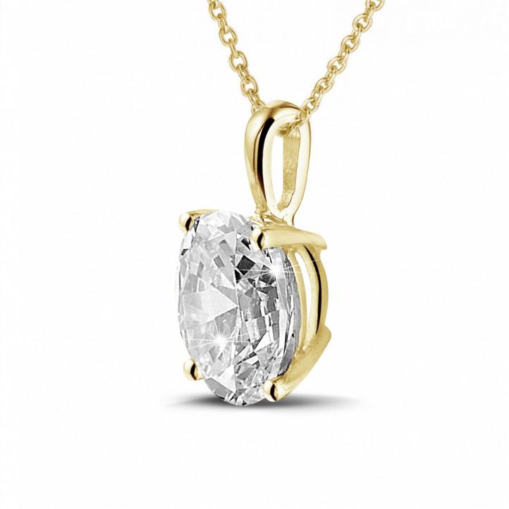 1.90 karaat solitaire hanger in geel goud met ovale diamant