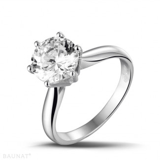 2.50 caraat diamanten solitaire ring in wit goud