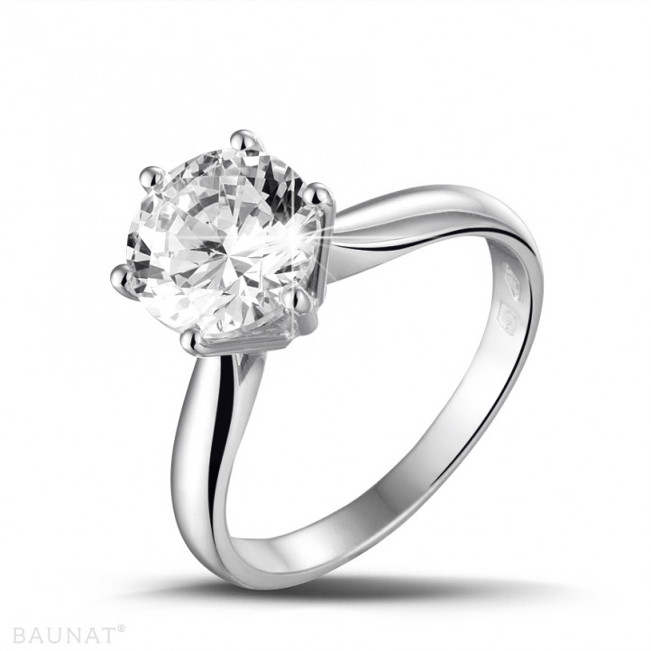 2.50 karaat diamanten solitaire ring in wit goud