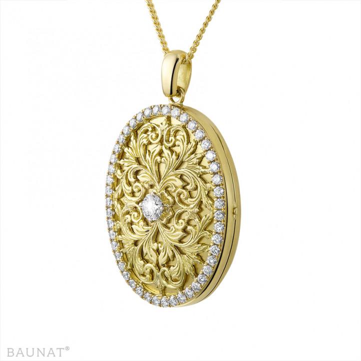 1.70 karaat design médaillon met kleine ronde diamanten in geel goud
