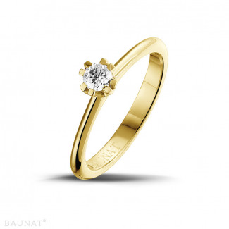- 0.25 karaat diamanten solitaire design ring in geel goud met acht griffen