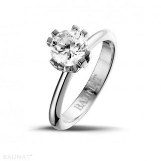 1.25 karaat diamanten solitaire design ring in platina met acht griffen