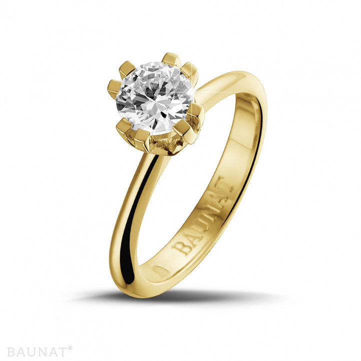 0.90 karaat diamanten solitaire design ring in geel goud met acht griffen