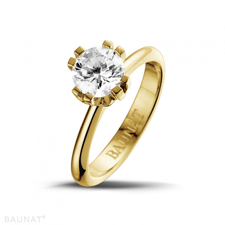 1.25 caraat diamanten solitaire design ring in geel goud met acht griffen