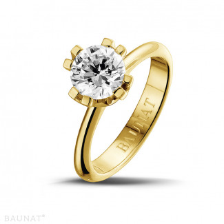 1.50 karaat diamanten solitaire design ring in geel goud met acht griffen