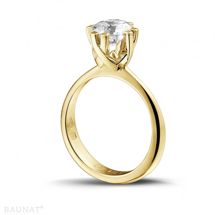 1.50 caraat diamanten solitaire design ring in geel goud met acht griffen