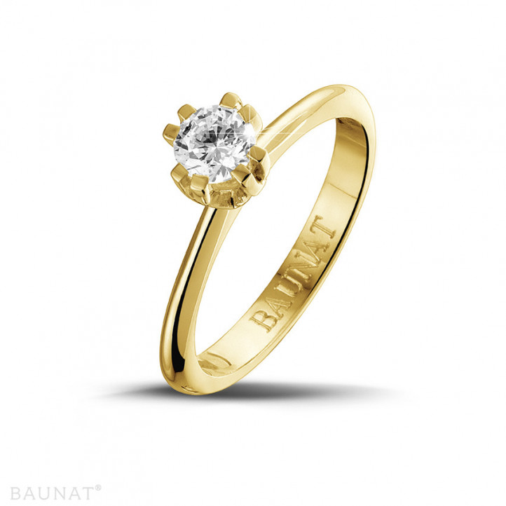 0.50 karaat diamanten solitaire design ring in geel goud met acht griffen