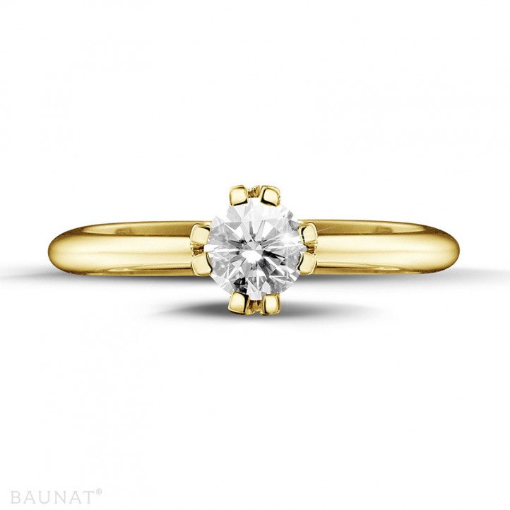 0.50 caraat diamanten solitaire design ring in geel goud met acht griffen