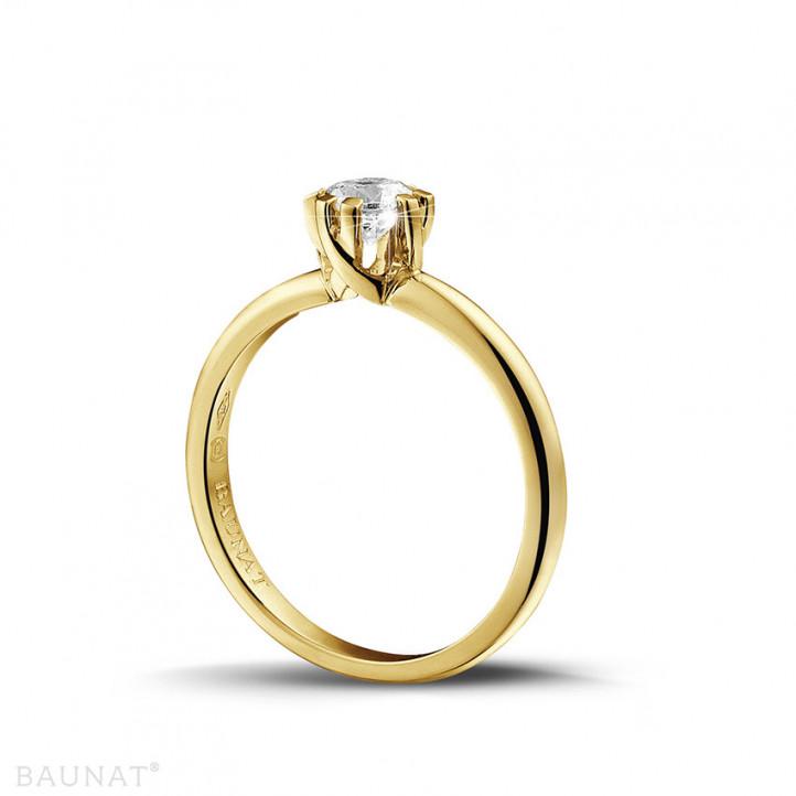 0.50 caraat diamanten solitaire design ring in geel goud met acht griffen