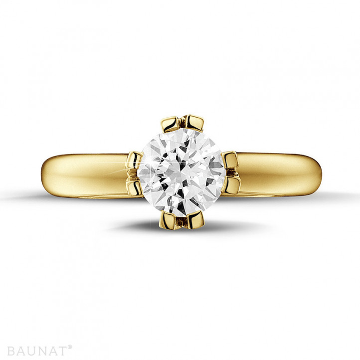 1.25 karaat diamanten solitaire design ring in geel goud met acht griffen