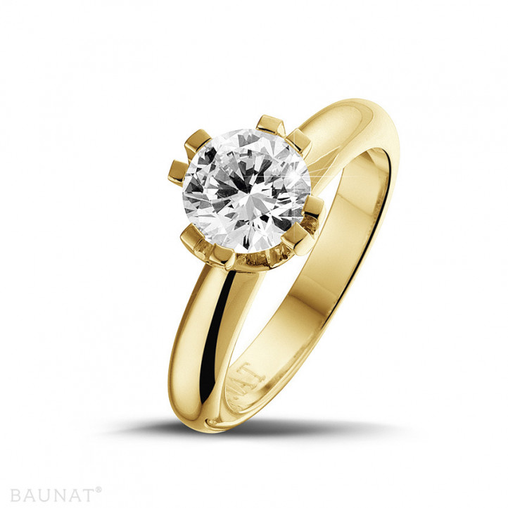 1.50 karaat diamanten solitaire design ring in geel goud met acht griffen